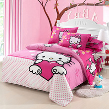 Home textiles bedclothes, Children Kids Bed Linen King Queen Full Hello kitty bedding sets include duvet cover sheet pillowcase