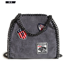 Women Bag Leather Badge jean cloth star Chain bag Woven Shoulder Bags Bolsa Feminina Carteras Mujer women star chain handbags