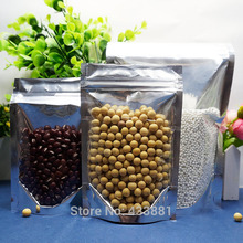 9*14cm,100pcs Stand translucent aluminium ziplock bag - Front clear reclosable metallic aluminum mylar plastic pouch zipper seal