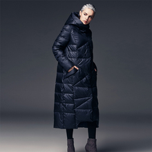 High Quality Women's X-Long Hooded Down Jacket Female Dark Blue / Orange Thick Warm Down Coat Outerwear(China)