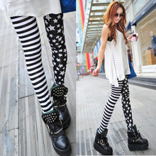 Womens Leggings Autumn Spring Thin Stars Strip Patchwork Slim Skinny Fashion Leggings For Woman Lady Leggings Pants Trousers(China)