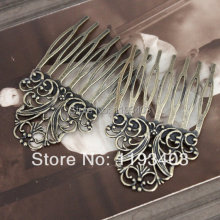 20PCS Flower Filigree Antique Bronze plated Brass hair combs base setting   Nickel Free Lead Free-(COMBSS-4)
