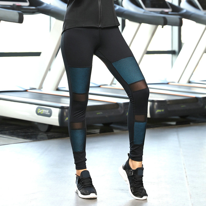 Black women workout leggings Mesh Stitching Gothic Leggings high waist elastic Casual 2018 Summer Spring Fitness Leggings Pants