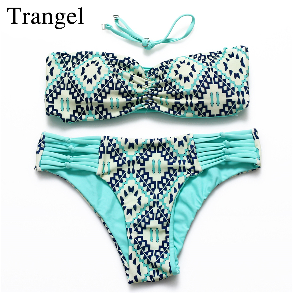 Trangel 2017 Sexy Bandeau Bikini Set Women String Strapless Swimwear Wrap Chest Swimsuit Solid Beachwear Hollow Out Bathing Suit<br><br>Aliexpress