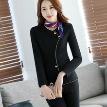 2Pieces Women High Quality Office Mini Skirt elegant female business suit Stewardess clothing Hotel staff Beautician uniforms(China)