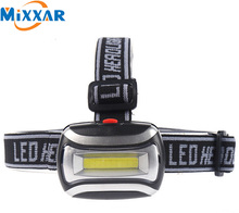 Hot Sell Mini Plastic 600Lm COB LED Headlight Headlamp Head Light Lamp Flashlight 3xAAA battery Torch For Camping Hiking Fishing