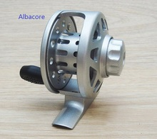 Albacore Full metal ice fishing reel with auto line releasing may be used as hand pole reel(China)