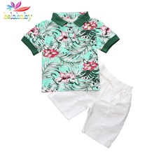 Belababy Summer Baby Boy Clothes Set Floral Print Boy Blouse+Shorts Suit Kids Boys Clothing Set Children's Outfits