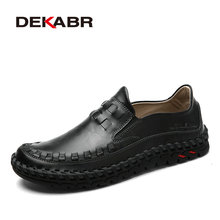 DEKABR 2017 New Arrival Fashion Cow Split Leather Men Casual Shoes Slip On Mens Loafers Man Handmade Rubber Sole Flats Men Shoes