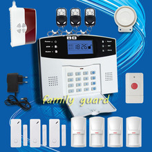 Free Shipping!Wireless GSM SMS TEXT Alarm System LCD Screen Remote Intercom/Monitor/Arm/Disarm+Panic Button+Gas Sensor+PIR