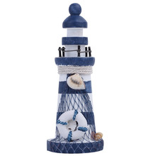 1pcs Wooden Nautical Lighthouse Beacon Tower Beach Starfish Shell Home Room Bedroom DIY Decorative Crafts Ornament Gift(China)