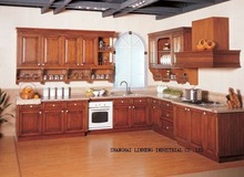 Solid wood  kitchen cabinets sets (LH-SW019)