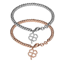 Custom Engraved Clover Bracelet For Girls Stainless steel Beads Bangle Exquisite Women Jewelry Wedding Gifts for Bridesmaid(China)