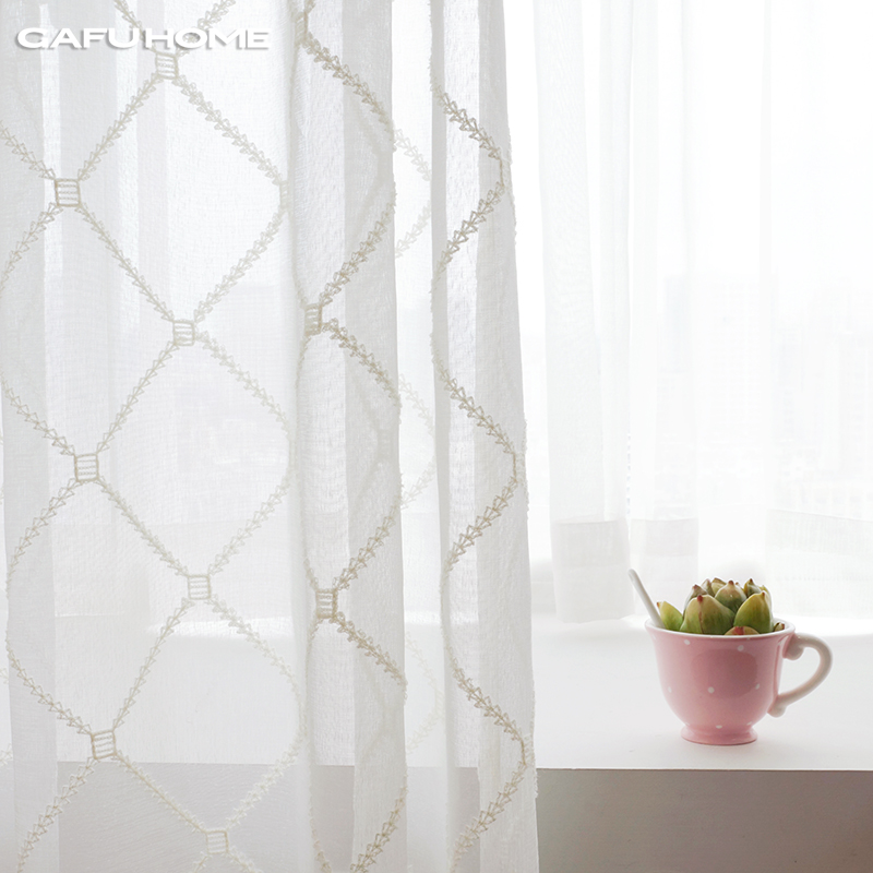 quality finished product highgrade flocking embroidered sheer curtains gauze shade bedroom white sheer curtain