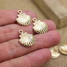 Wholesale 80PCS 16*18mm gold-colored Shell Charms Pendant Fit Bracelets Necklace DIY Metal Jewelry Making T0314(China)