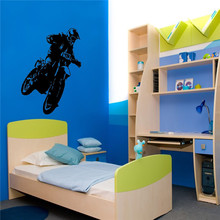 Motocross Racing Wall Art Sticker Boys Bedroom Decor Motorcycle Sports Decal Vinyl Mural Home Decor Wallpapers(China)