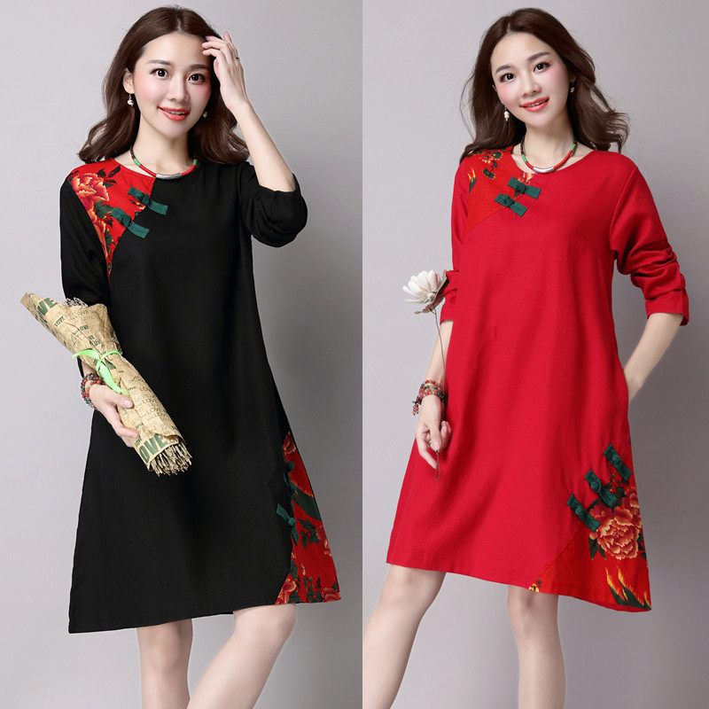 Maternity Dresses for Pregnant Women Vintage Dress for Autumn Winter Loose Maternity Clothing Pregnancy Chinese style Clothes<br><br>Aliexpress