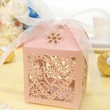 10Pcs/set Wedding Favors and Gifts Pierced Love Heart Baby Shower Birthday Party Hollow Candy Iridescent Paper Boxes Decor