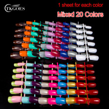 TKGOES 240pcs/pack Mixed 20 Colors Nail Tips Short Design Fake Nails Faux Ongles Full Cover False Acrylic Nails Art Design Tips(China)