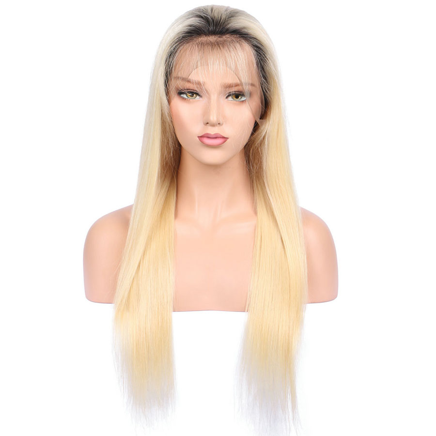 BEEOS #1bT#613 Glue Full Lace Wig With Baby Hair Pre Plucked Remy Ombre Blonde Human Hair Wigs Bleached Knots Average Cap (12)