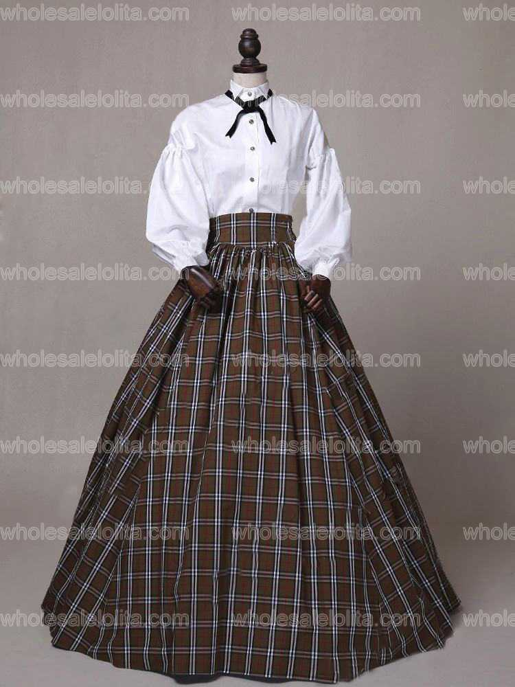 Dickens Country Plaid Victorian Dress Old West Gown Reenactment Halloween Costume(1)