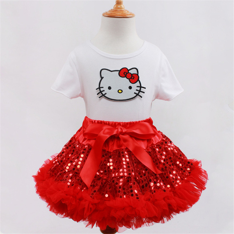 Red Bling Sparkle Sequin Pettiskirt Baby Dress Hello Kitty Tops Tutu Layered Cake Skirts Kids Girl Birthday Clothing Set 1-8y<br><br>Aliexpress