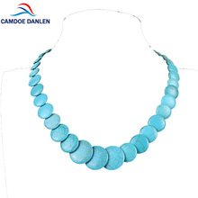 "CAMDOE DANLEN Fashion Women Necklaces Blue Howlite Turquoises Round Gem Vintage Necklace 20"" Long Statement Necklace Pendants"