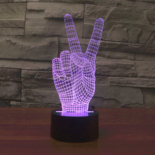 2018 New Year Christmas victory Colorful 3D Light LED Touch Night Light 3d finger Light USB Nightlight table lamp 7 colors
