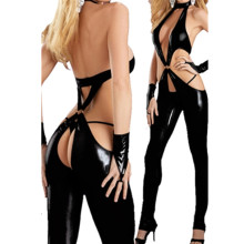 New Arrival Catwoman Feline Black Catsuit Teddy Ladies Pole Dancing Clothes Women Sexy Lingerie Open Underwear Club Costume