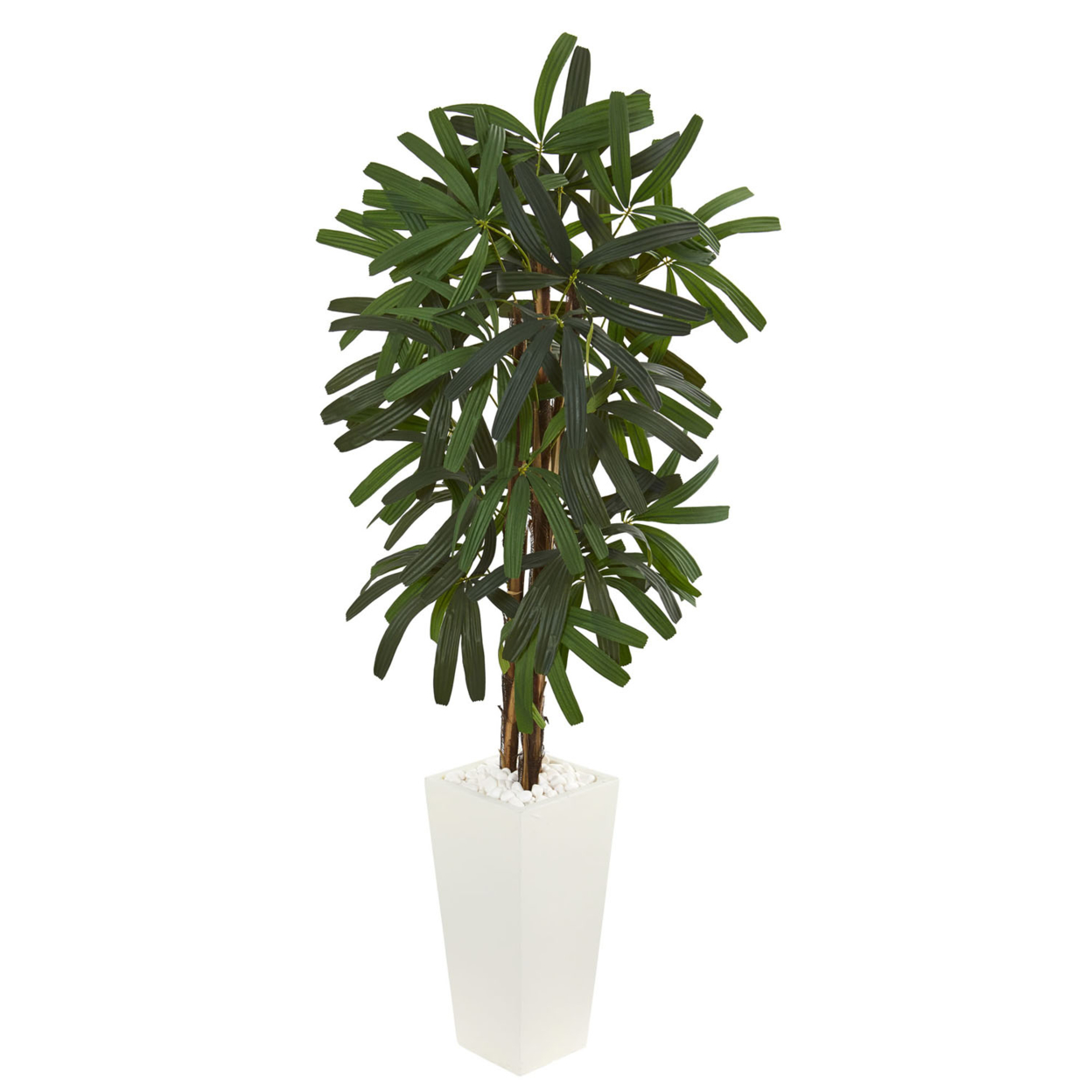 Nearly Natural 5.5\' Raphis Palm Artificial Tree in White Tower Planter