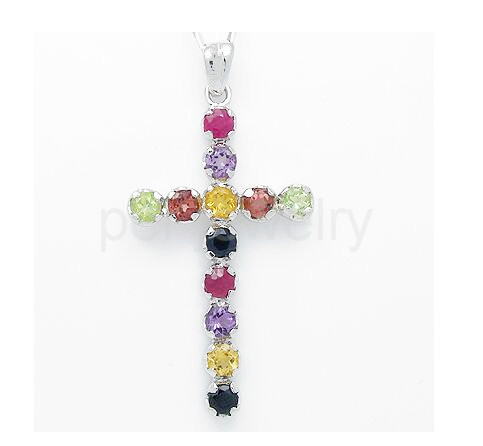 Pendant Free shipping Natural sapphire ruby citrine amehtyst peridot 925 sterling silver Fine jewelry Cross pendant