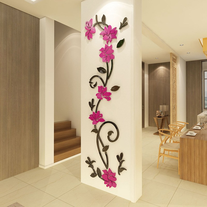 HTB1A4F3dcrI8KJjy0Fhq6zfnpXat - Hoomall Acrylic Flower Wall Stickers Poster New Year Decorations Removable Stickers for Kitchen DIY Wall Stickers for Kids Rooms