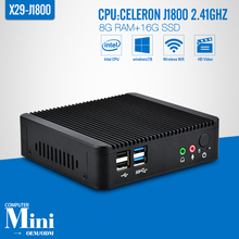 Fanless Computer J1800,HDMI+VGA Thin Client,8G RAM 16G SSD With WIFI Desktop Computer Support Win 7 XP System Mini PC