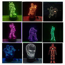 8 Versions 3D LED Iron Man Bulbing Night Lights illusion Colorful Gradient Bedroom Desk Lamp Boys Xmas Festival Birthday Gifts(China)
