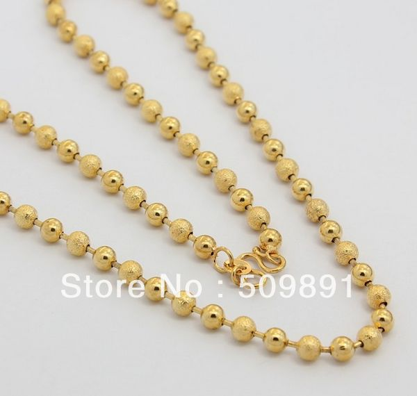 Fashion 5mm Beads Popcorn Chain Necklace Men 24k Gold Colou Jewelry Promotions Charm Party Anniversary Accessories