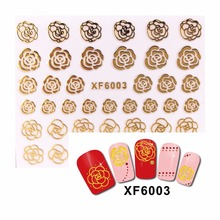 ZKO 1 Sheet 3D Nail Stickers Beauty Hot Gold Rose Design Brand Nail Art Charms Nails Bronzing Decals Decorations Tools 6003(China)