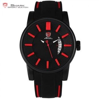 Tiburones grises de arrecife shark reloj deportivo rojo 3d diseño especial fecha correa de silicona de cuarzo relojes de los hombres a prueba de agua relogio masculino regalo/sh478