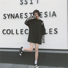 New Harajuku Fake Two Piece Women T-Shirt Korean Ulzzang Striped Graphic Tops 2017 Casual Oversize Funny Female Loose White Tee