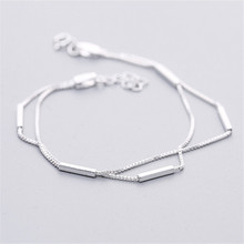 KOMi 925 Sterling Silver Bracelet For Women Multilayer Stick Shape Geometric Charm Bracelets Party Fashion Jewelry O-708