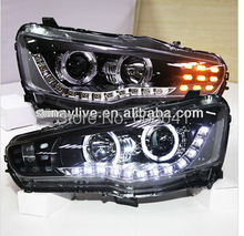 For Mitsubishi Lancer Exceed LED Head Lamp Angel Eyes 07-up PW Type(China)