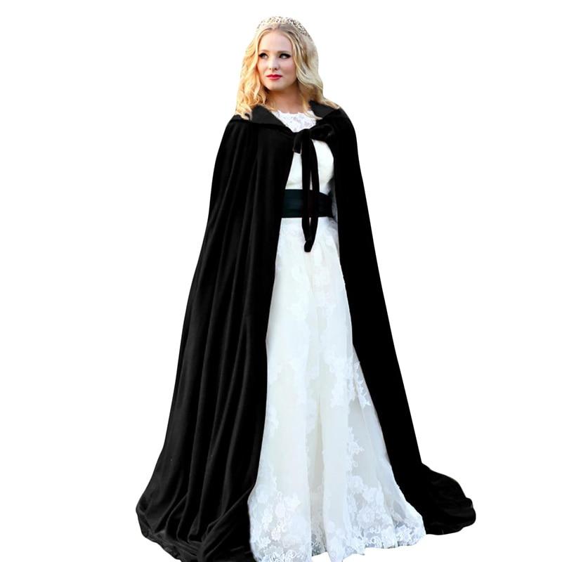 Velvet Cloak Robe Cape Man Women Cosplay Gothic Witch Princess Halloween Hooded