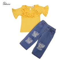 Toddler Kids Baby Girls Cloth Set Casual Cute Lace Clothes Short Flare T-shirt Tops+Hole Denim Pants Outfits Set Age 1-6T