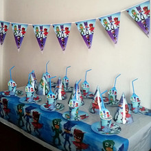 91pcs Disposable Tableware sets PJ Masks Theme TableCloth cups Paper plate Napkin Flag Kids Boy Birthday Party Decoration