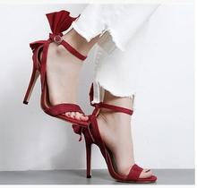 Cheap Price Hot Selling American and European Red Butterfly knot Sandals Open Toe Thin and High Heels Shoes(China)