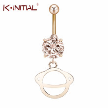 Kinitial 10PCS Gold Silver Plated Women Belly Button Ring Jewelry Cute Planet Round Saturn Drop Navel Piercing Bijoux Femme
