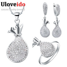 Silver Color Crystal Rhinestone Dubai Jewelry Sets Gift for Women Wedding Accessories Jewellery Set Ring Necklace Earrings T064