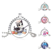 2 Chains High Quality Girls Silver Plated Cute Cat Glass Pendant Necklace For Women Hot Sale Lovely Kids Cat Necklace Jewelry