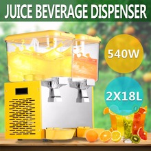 9.5 Gallon Cold Fruit Juice/ Beverage/ Ice Tea Dispenser 18L X Two Tanks(China)