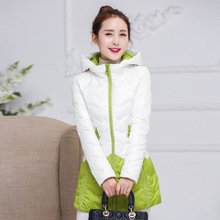 The lady down jacket in the long winter of 2016 new Korean hit color slim zipper jacket