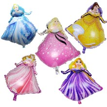 QGQYGAVJ 5pcs/lot New Cartoon Princess Helium Foil Balloons Princess Birthday Party Suppliers Baloes Inflatable Toys for Kids(China)
